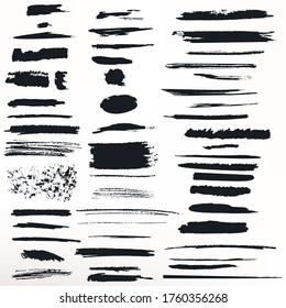 Collection of vector painted grunge ink strokes for brushes designs