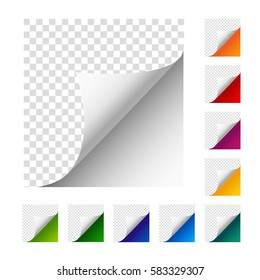 Collection of vector paper corners. Set of colorful paper sheets. White, orange, red, violet, yellow, green, blue, dark blue, turquoise, light green paper curled paper.