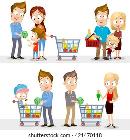 Collection of vector people in grocery store