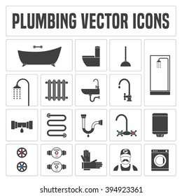 Collection of vector  plumbing symbols and icons. Template design element for information materials related to plumbing and engineering