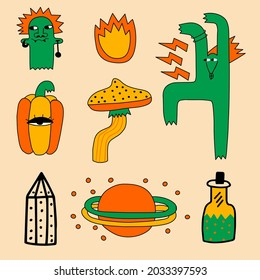 collection of vector psychedelic stickers for Halloween - zombie, witch, pumpkin, mushroom, space, potion, crystal.Modern magic and mysticism.Punk rock tattoo in the style of the 70s.Hand drawn style