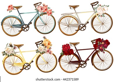 A collection of vector realistic bicycles with rose flowers in vintage style ideal for wedding design and save the date cards