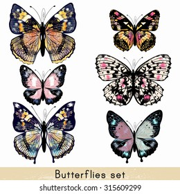 Collection of vector realistic colorful butterflies for design