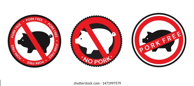 Collection of vector red and black signs, icons and badge designs relating to pork with No Pork, Pork Free and pig silhouette icons denoting Pork content isolated on white