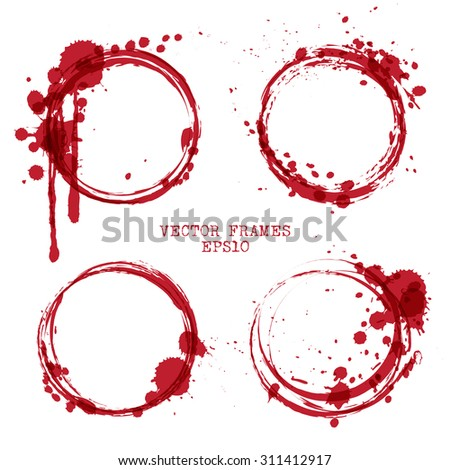 Collection Vector Red Frames Brush Strokes Stock Vector (Royalty ...