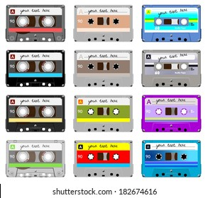 Collection of vector retro audio cassettes. Set of different colorful music tapes. Isolated on white background. Vector art eps10
