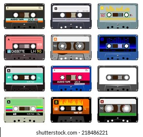 Collection of vector retro audio cassettes. Set of different colorful music tapes. Isolated on white background. Vector art image illustration eps10