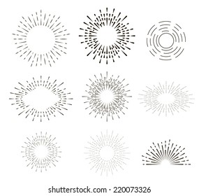 Collection of vector retro sun bursts. Eps10