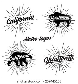 Collection of vector retro t-shirt logos