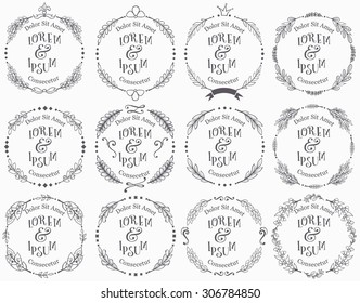 Collection of vector round floral handdrawn frames.
