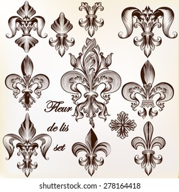 Collection of vector royal fleur de lis for design