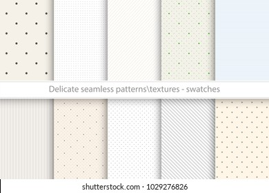Collection of vector seamless delicate patterns. Dotted, striped tileable color textures.