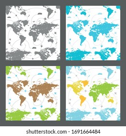 Collection of vector seamless patterns of the map of the world. Templates for prints, wallpapers about traveling. Silhouettes of continents and oceans for business projects.