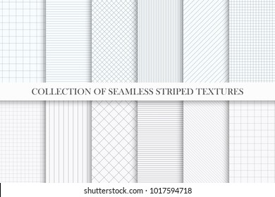 Collection of vector seamless striped textures. Similar to paper. Geometric repeatable simple patterns.