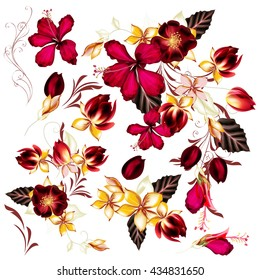 Collection or vector set of realistic beautiful flowers for design hibiscus and roses