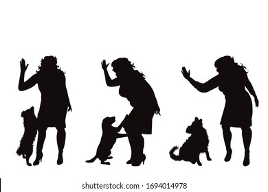 Collection of vector silhouette of anger woman with dog on white background. Symbol of animal abuse.