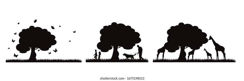 Collection of vector silhouette of animal on meadow on white background. Symbol of nature and wild.