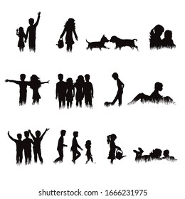 Collection of vector silhouette of children and animals in grass on white background. Symbol of childhood.