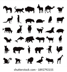 Collection of vector silhouette of farm and wild animal. Symbol of nature and creatures.