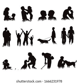 Collection of vector silhouette of people and animals in grass on white background. Symbol of sport.