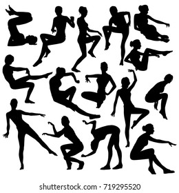 Collection of vector silhouette of young slim girls of posing in various strange poses