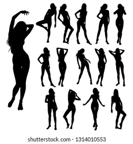Collection of vector silhouettes of beautiful women. Vector sexy girl in bikini swimsuit. Slim body full-length, sitting, lying down illustration of attractive young women. - Vector