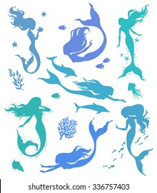 Collection of vector silhouettes of mermaids and sea life