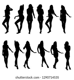 Collection of vector silhouettes of slim girls in short dresses isolated on white background. Icons of beautiful girls