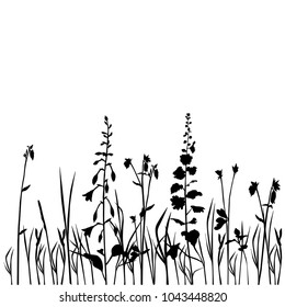Collection of vector silhouettes of wild flowers, bells, dandelions, blossom, black color isolated on white background