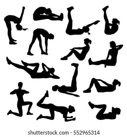 Collection of vector silhouettes of woman practicing fitness exercises down on the floor in horizontal position.  Black shapes of slim girl doing sport workout. Complex of fitness positions.