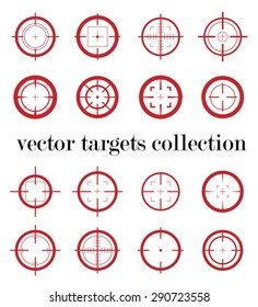 Collection of vector simple targets isolated on white background. Different crosshair icons. Aiming sign templates. Shooting and sniper marks design.