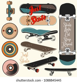 Collection of vector skateboards in vintage style
