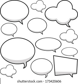 Collection of vector speech bubbles for comics.