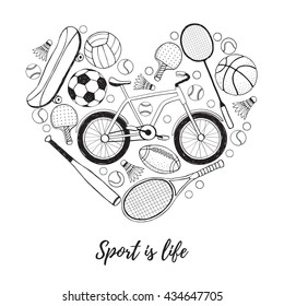Collection of vector sport equipment. Sport is life illustration. Hand drawn sport balls, rackets, bicycle in heart shape isolated on white background.