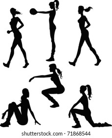 collection of vector sportive silhouettes