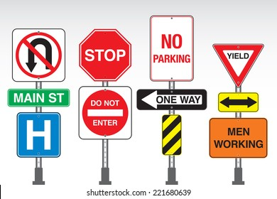 A collection of vector street signs attached to posts.