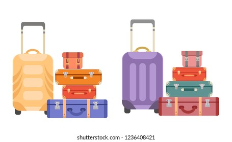 Collection of vector suitcases and bags. Travel luggage. Flat style set