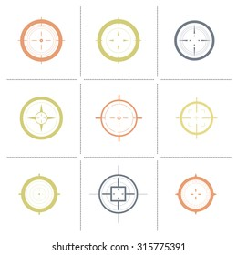 Collection of vector targets. Different crosshair icons. Aims templates. Shooting marks design.