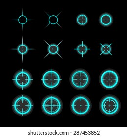 Collection of vector targets isolated on black background. Different crosshair icons. Aims game templates. Shooting marks design.