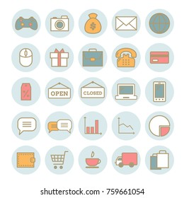 Collection of vector thin web icons: business, media, on-line trade