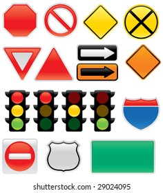 A collection of vector traffic signs and map symbols. Stop, yield, traffic lights, interstate and highway icons, one way, detour, construction, railroad, do not enter.