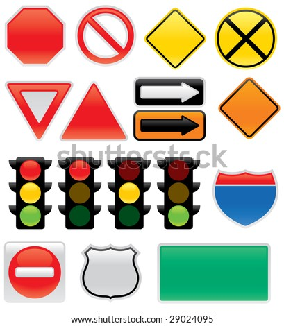 Collection Vector Traffic Signs Map Symbols Stock Vector Royalty