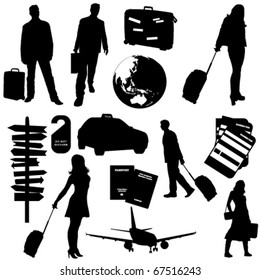 Collection of vector travel  silhouettes : business trip