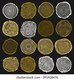 Collection of vector tree rings background and saw cut tree trunk. Conceptual graphics. Dark background