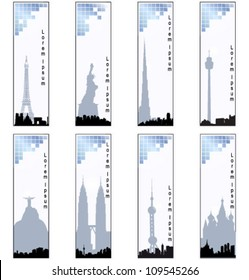 Collection of vector vertical banners of cities. EPS10 vector