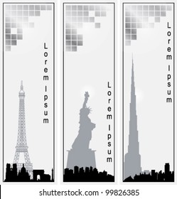 Collection of vector vertical banners of cities