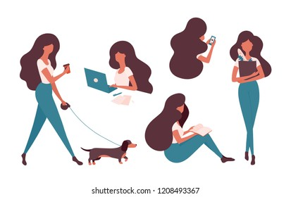 Collection of vector woman illustration doing her daily activities. Girl with a smartphone, laptop, walking the dog, reading a book, grocery shopping, working.