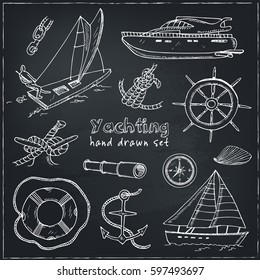 Collection of vector yachting doodle icons. Isolated objects on a white background .