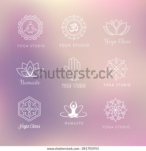 Collection Vector Yoga Icons Symbols Meditation Stock Vector Royalty Free 381705955