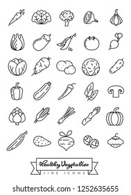 Collection of vegetables outline vector icons isolated on white background